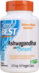 Ашвагандха Ashwagandha Featuring Sensoril Doctor's Best 125 мг 60 капсул