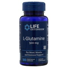 L- глютамін L-Glutamine Life Extension 500 мг 100 капсул